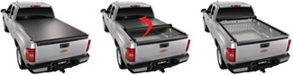 TruXedo Lo Pro QT tonneau cover rolled up behind cab