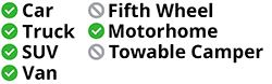 Approved for use on cars, trucks, vans, SUVs, and motorhomes - not approved for fifth wheels or towable campers