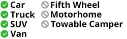 Approved for use on cars, trucks, vans, and SUVs - not approved for fifth wheels, motorhomes, or towable campers