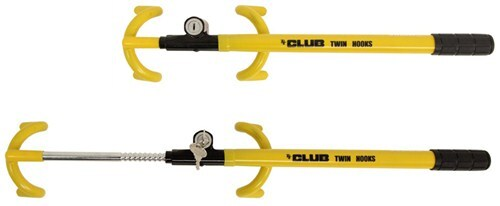 The Club Twin Hooks adjusts in length to fit most steering wheels