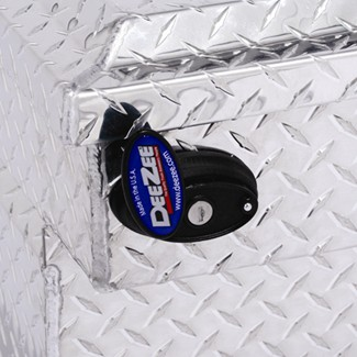 DeeZee's Blue Label toolboxes include push-button latches for easy opening and closing