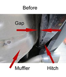 Muffler close to hitch