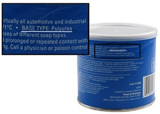 Grease container label pointing out base specification