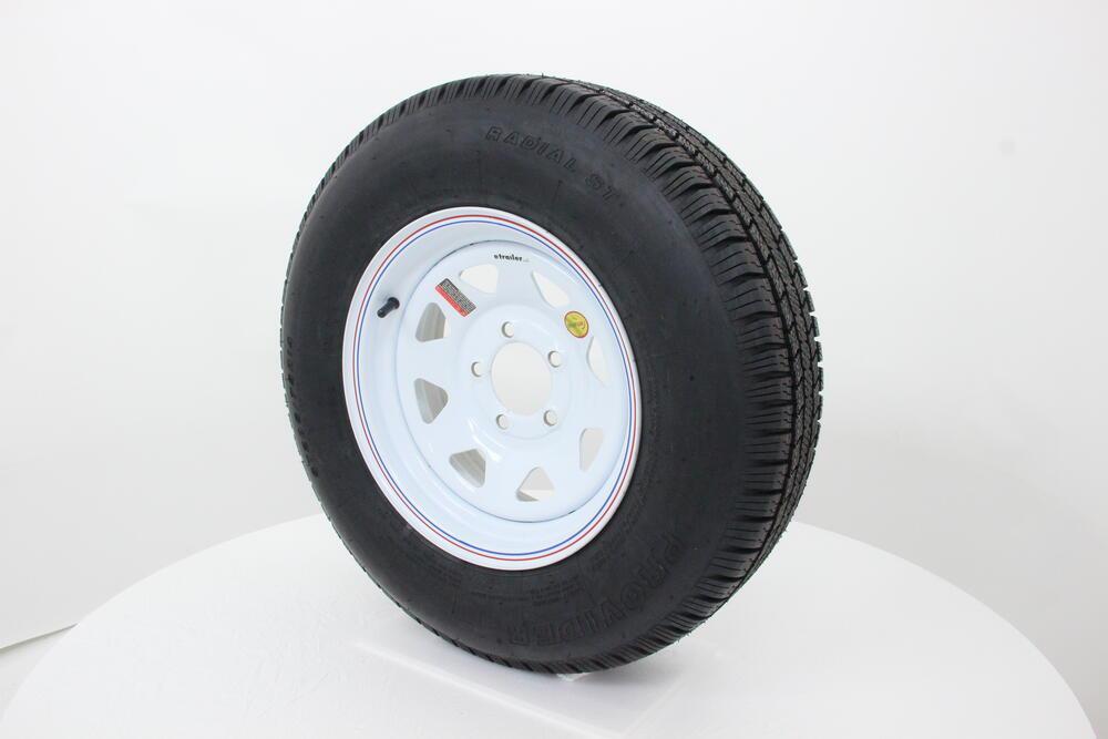 provider st205 75r14 radial trailer tire w 14 white spoke wheel 5 on 4 1 2 lr c taskmaster. Black Bedroom Furniture Sets. Home Design Ideas