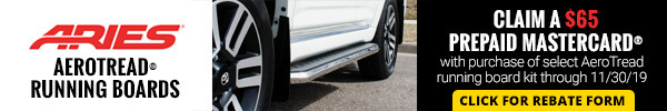Claim a $65 Prepaid Mastercard with purchase of select AeroTread running board kits
