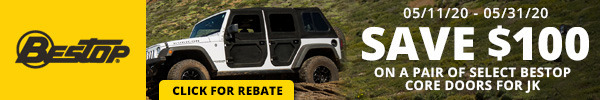 Save $100 on a pair of Select Bestop Core Doors for JK
