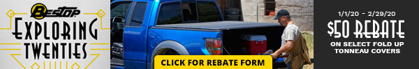 Receive a $50 Rebate on Select Bestop Folding Tonneau Covers