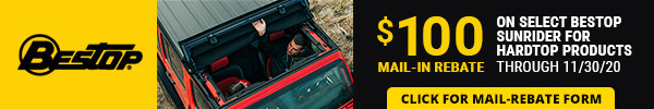 $100 Mail-in rebate on select bestop Sunrider for hardtop banners through 11/30/2020