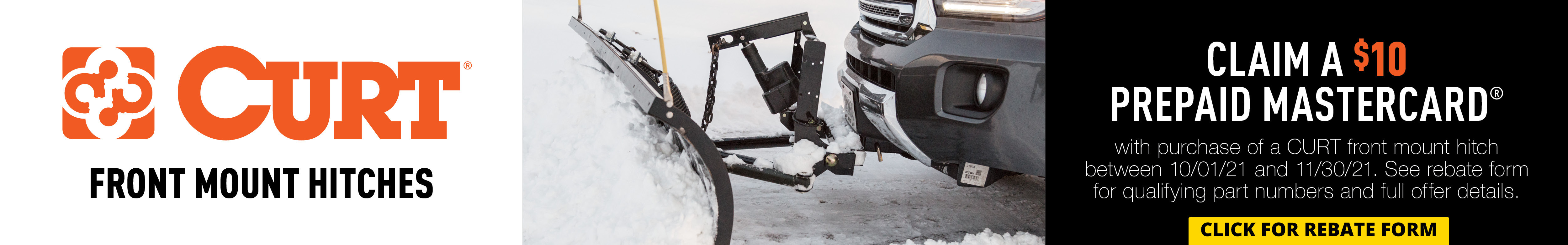 Curt - $10 Mail in Rebate - select Front Mount Hitches - Oct 1 thru Nov 30