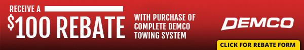 Receive a $100 Rebate on Select Demco Flat Tow Products