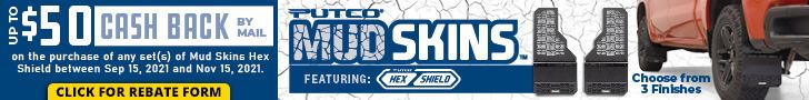 Putco Mud Skins Hex Shield - up to $50 MIR - $25 per set - Sept 15-Nov 15