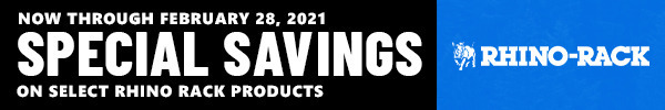 Now Through February 28, 2021 Special Savings on Select Rhino Rack Products