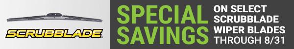 Scrubblade - $4 Off select Wiper Blades - August 1 thru August 31
