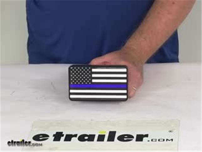 Thin Blue line Police Flag Hitch Cover Cap 2 Receiver Black with Chrome /& Dome