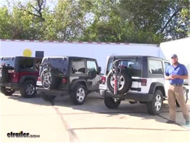 156874e8c39 Best 2018 Jeep JK Wrangler Unlimited Spare Tire Bike Rack Options Video |  etrailer.com