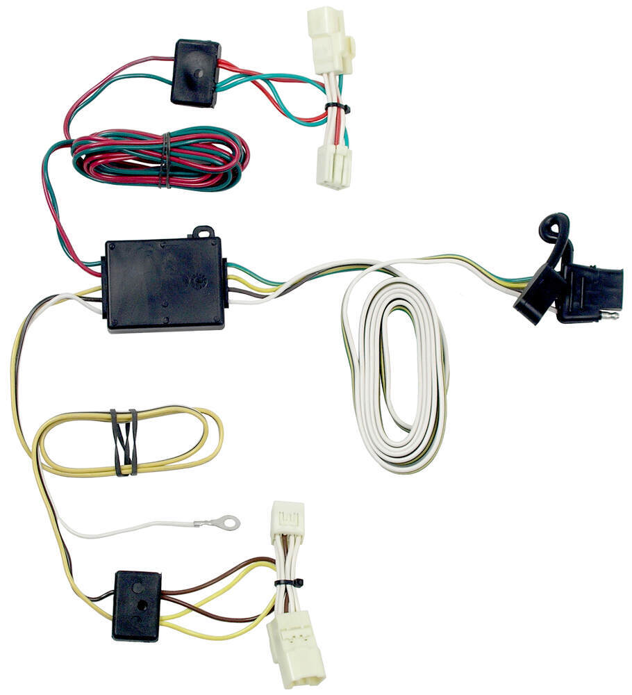 T One Vehicle Wiring Harness With 4 Pole Flat Trailer Connector Zip Ties Tekonsha Custom Fit 118413