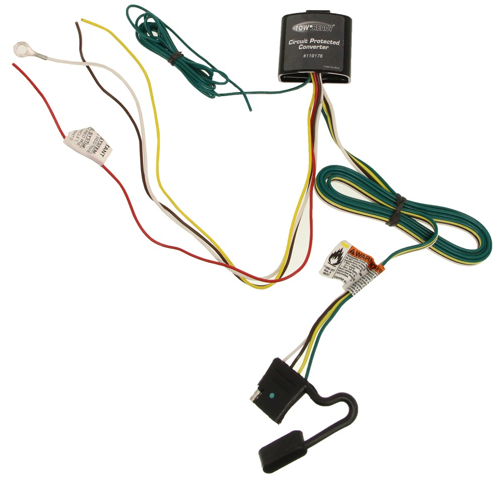 Upgraded Circuit Protected Tail Light Converter with 4-Pole Flat Trailer  Connector Tekonsha Wiring 119178