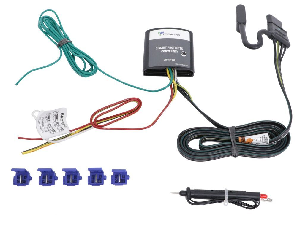 upgraded circuit protected tail light converter hardwire kit w/ 4-pole  connector and circuit tester tekonsha wiring 119178kit
