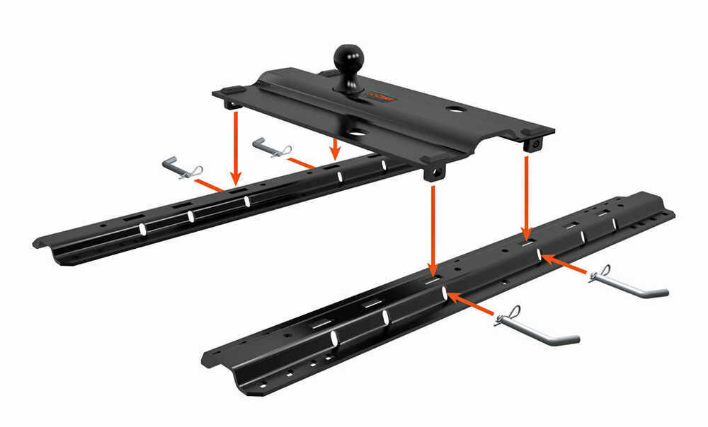 "Curt Fifth Wheel Hitch >> Curt Above-Bed Gooseneck Trailer Hitch for Fifth Wheel Rails - 3"" Offset - 25,000 lbs Curt ..."