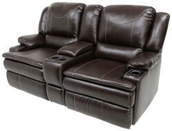 Thomas Payne Momentum RV Dual Reclining Sofa w Console, Heat, Massage, LED Lights - Jaleco Chocolate