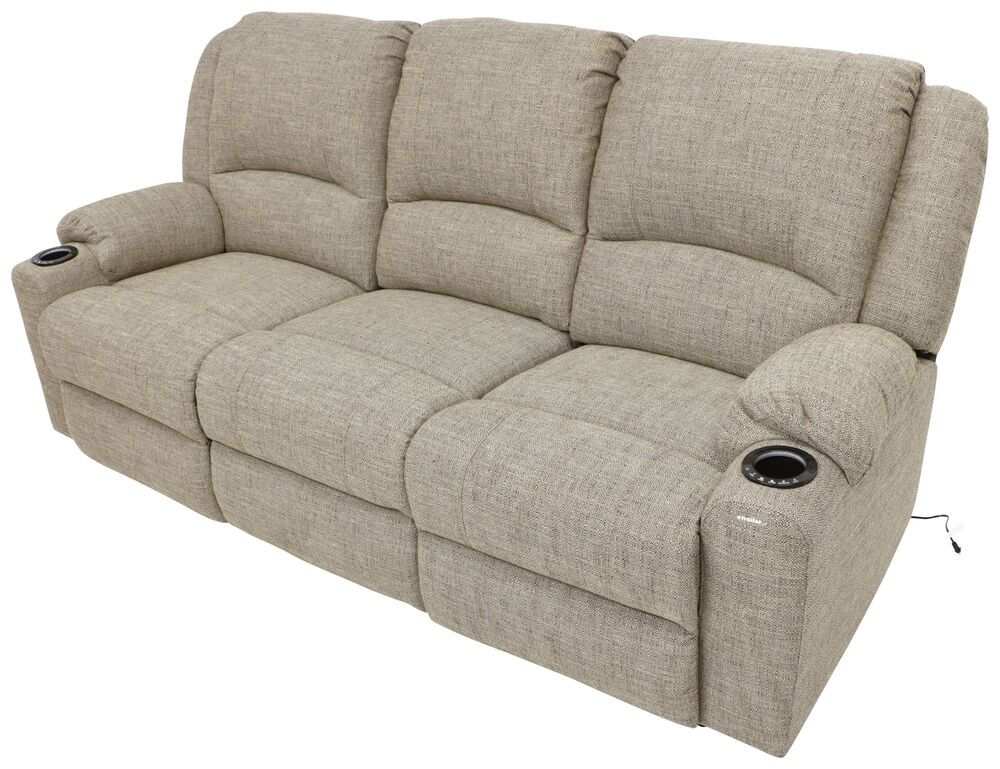 Thomas Payne Seismic Triple Power Reclining RV Couch w/ Heat, Massage, LEDs, USB - Cobble Creek Wall Clearance Required 195-100-099-098