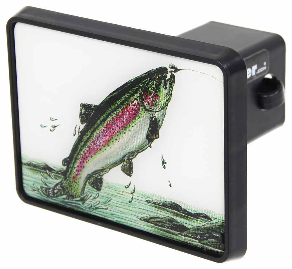 Trout trailer hitch receiver cover for 2 trailer hitches for Fish hitch cover