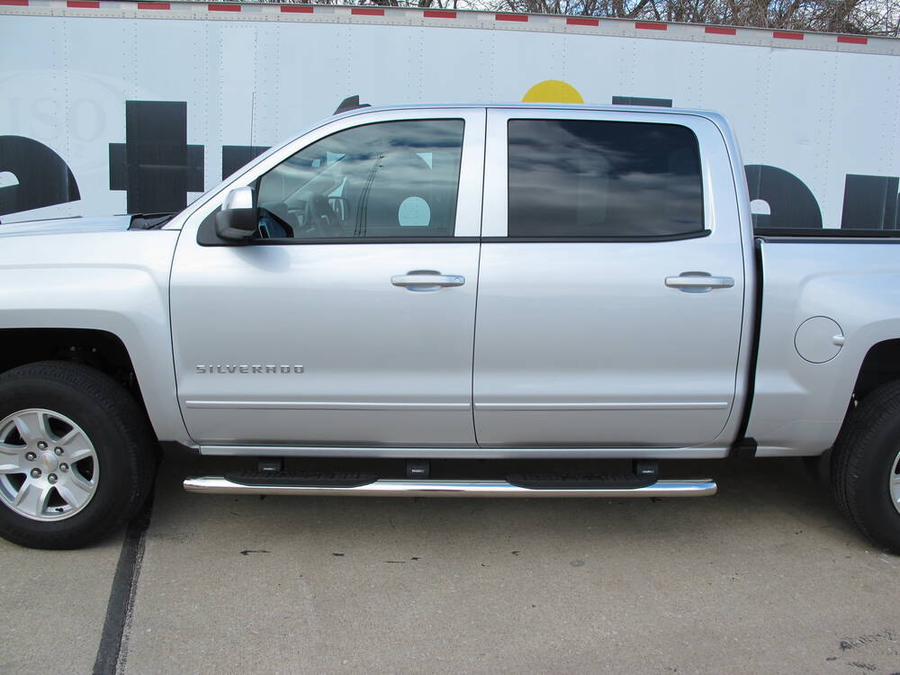 "2005 Silverado 1500 >> Westin PRO TRAXX Oval Nerf Bars - 4"" - Polished Stainless Steel Westin Nerf Bars - Running ..."