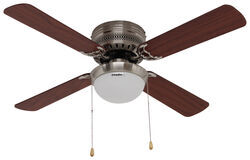 Is airrforce hugger style rv ceiling fan 12 volt or 110 volt 42 hugger style rv ceiling fan with light kit for rvs brushed chrome mozeypictures Choice Image