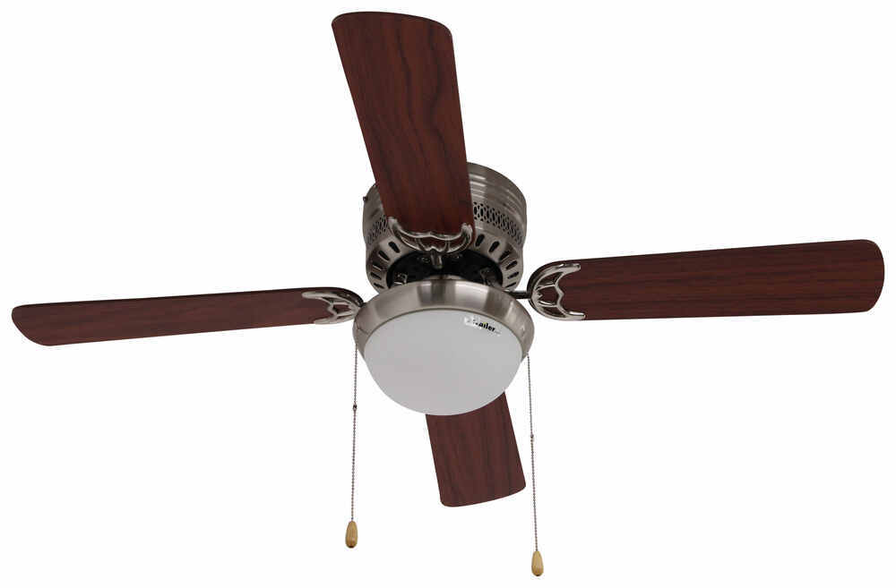 42 Quot Hugger Style Rv Ceiling Fan With Light Kit For Rvs Brushed Chrome Airrforce Rv Ceiling