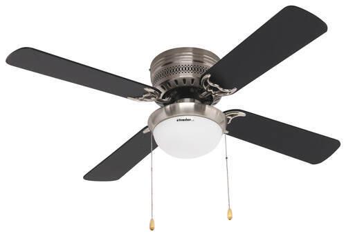 42 hugger style rv ceiling fan with light kit for rvs brushed 277 000083 brushed chrome airrforce ceiling fan w light kit aloadofball Images