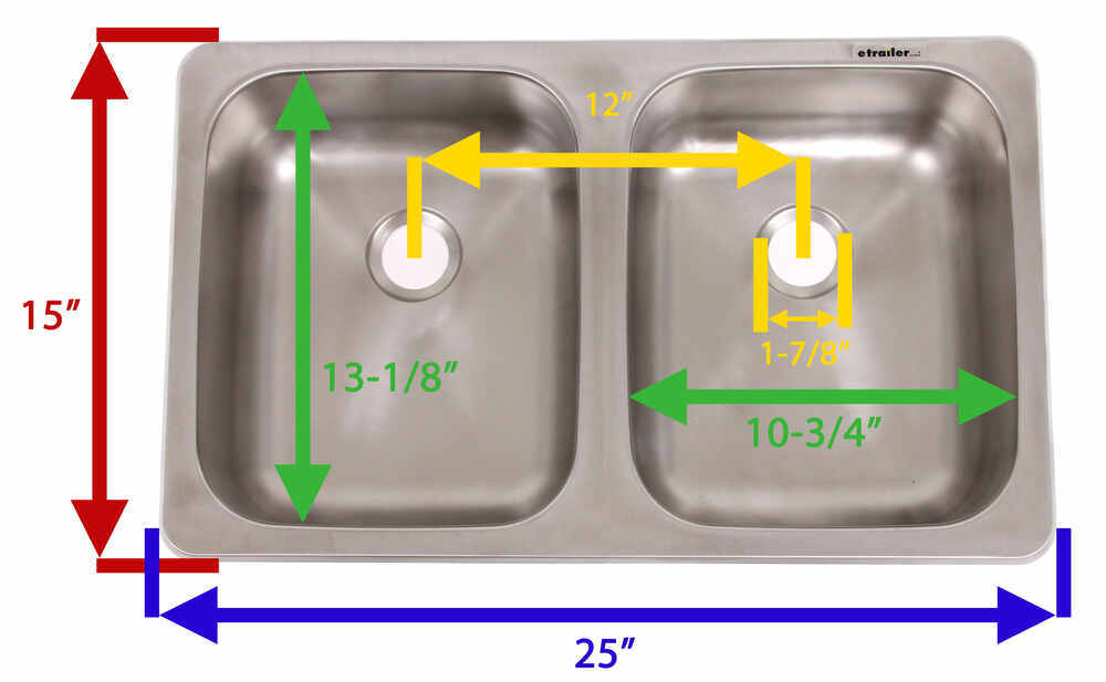 25 X 15 Double Bowl Sink Stainless Steel Patrick Distribution Rv