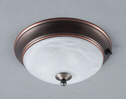 "Gustafson RV Ceiling Light - Weathered Copper - 8"" - Frosted White Glass"