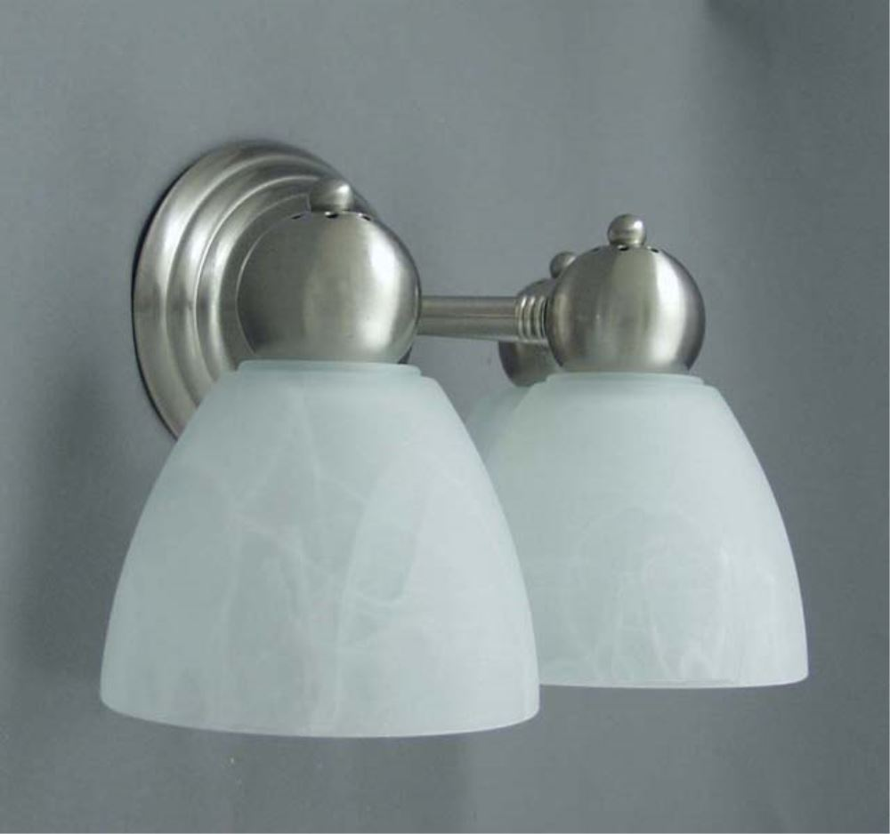 Vanity Lights For Rv : Gustafson RV Vanity Light - Satin Nickel - 2 Arm - Frosted White Glass Gustafson Lighting RV ...