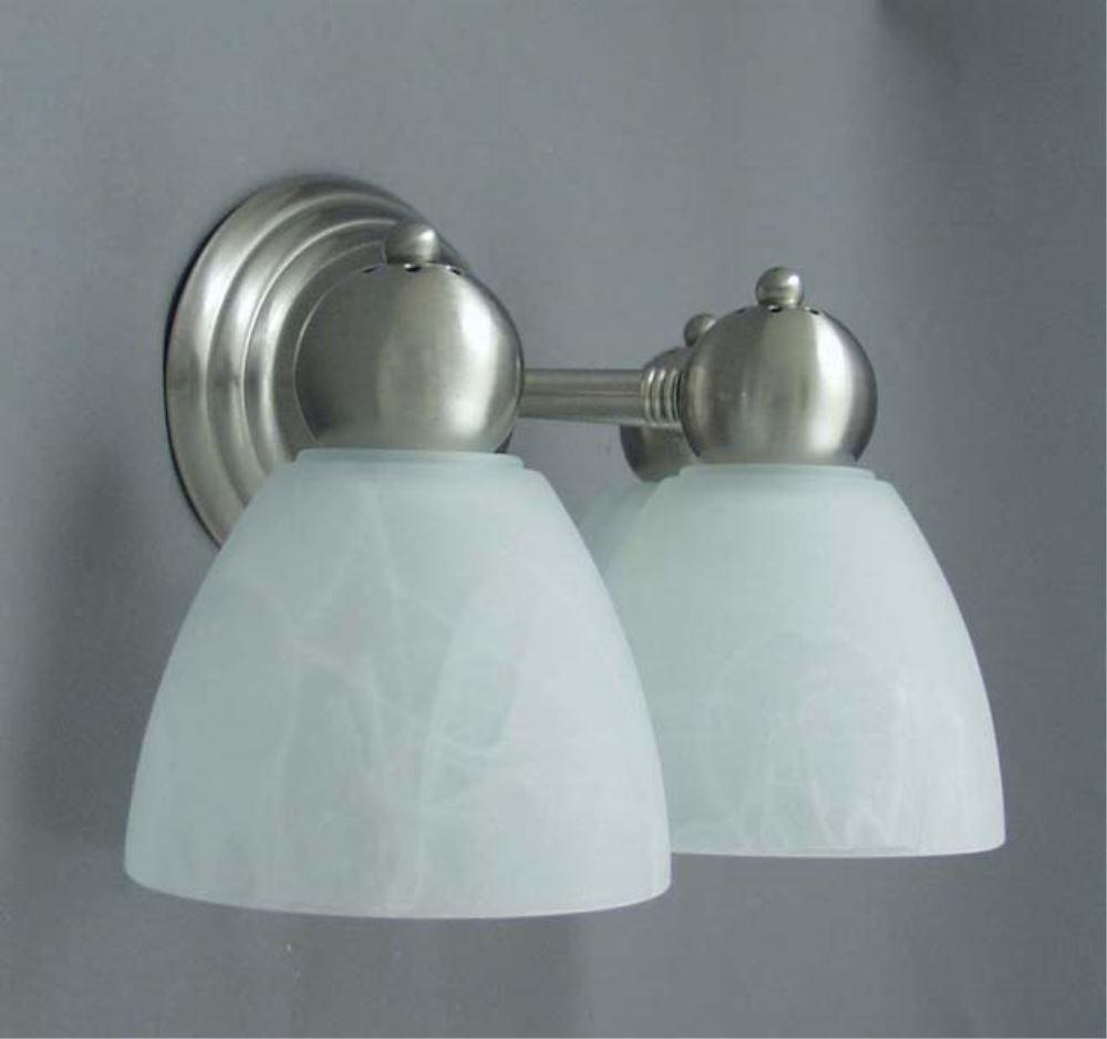 Gustafson RV Vanity Light - Satin Nickel - 2 Arm - Frosted White Glass Gustafson Lighting RV ...