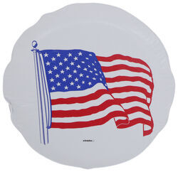 "Adco US Flag Spare Tire Cover - 27"" Diameter - Vinyl - White"