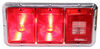 bargman trailer lights tail 14l x 7w inch triple light - 5 function incandescent chrome base red and clear lens