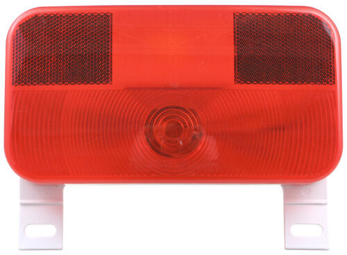 Bargman Tail Light w/ License Bracket - 5 Function - Incandescent - White  Base - Red/Clear Lens