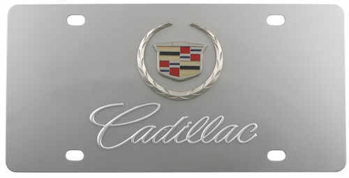 Stainless Steel License Plate Cadillac with Logo Chrome DWD Plastics ...