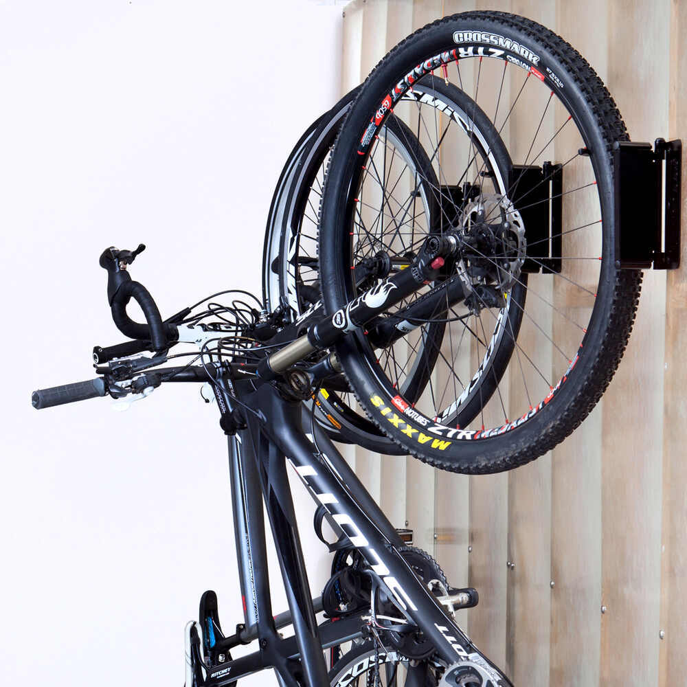 feedback sports velo hinge bike storage rack pivoting wall hook black 1 bike feedback. Black Bedroom Furniture Sets. Home Design Ideas