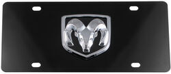 Ebony Finished Stainless Steel License Plate Ram Logo Chrome
