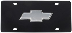 Ebony Finish Stainless Steel License Plate Chrome Chevy Logo
