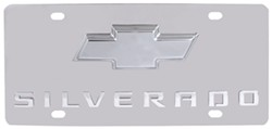 Stainless Steel License Plate Silverado with Chrome Chevy Logo