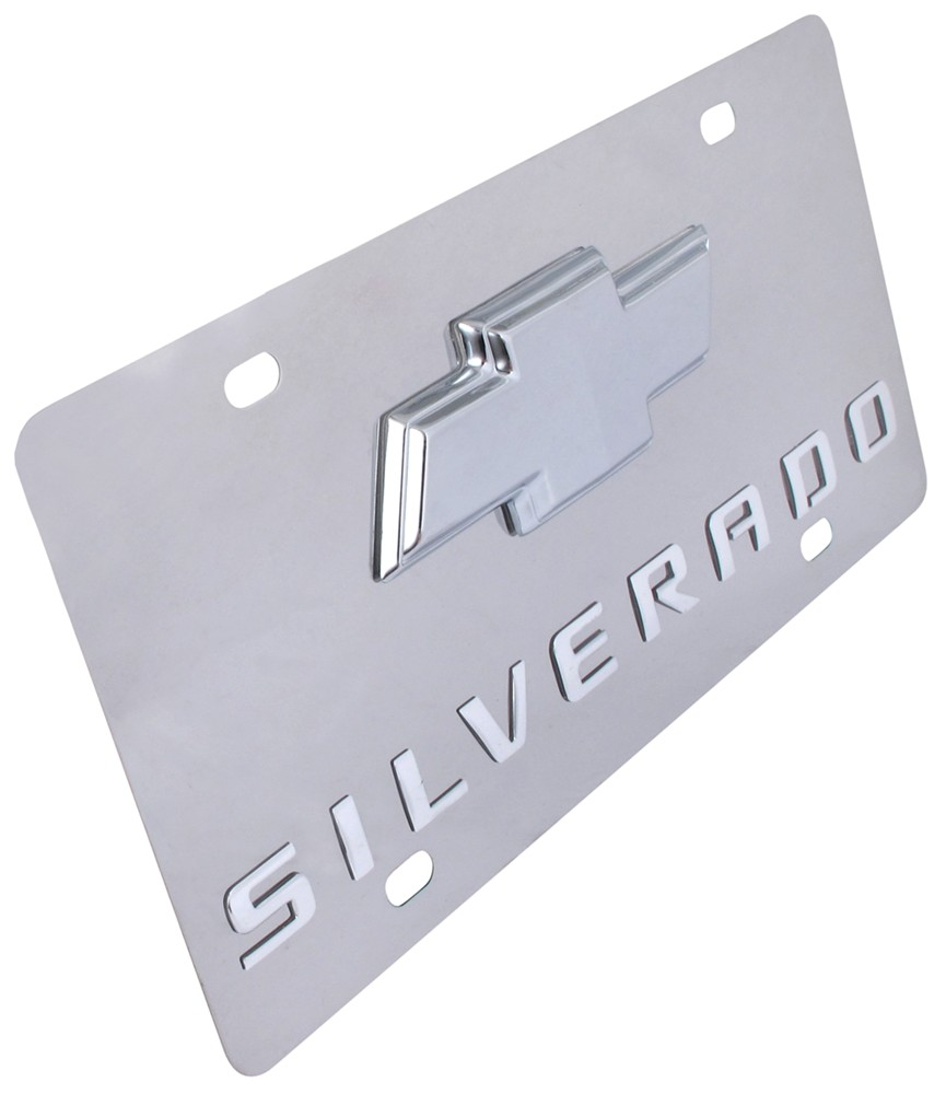 Stainless Steel License Plate Silverado With Chrome Chevy