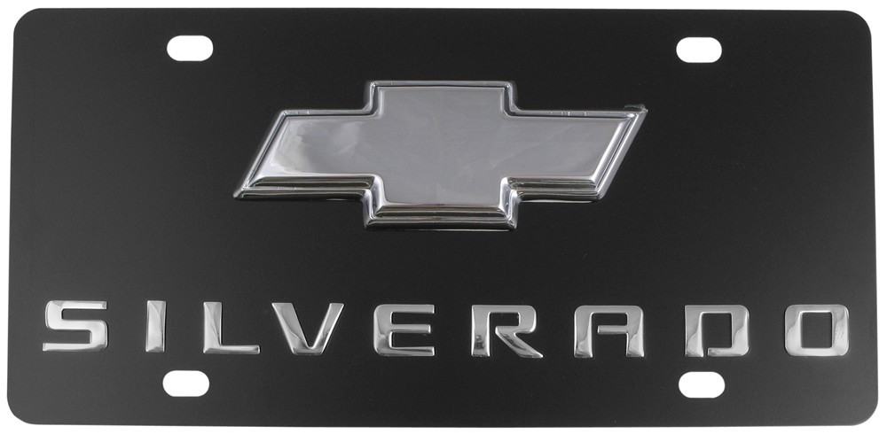 Ebony Finish Stainless Steel License Plate Silverado With