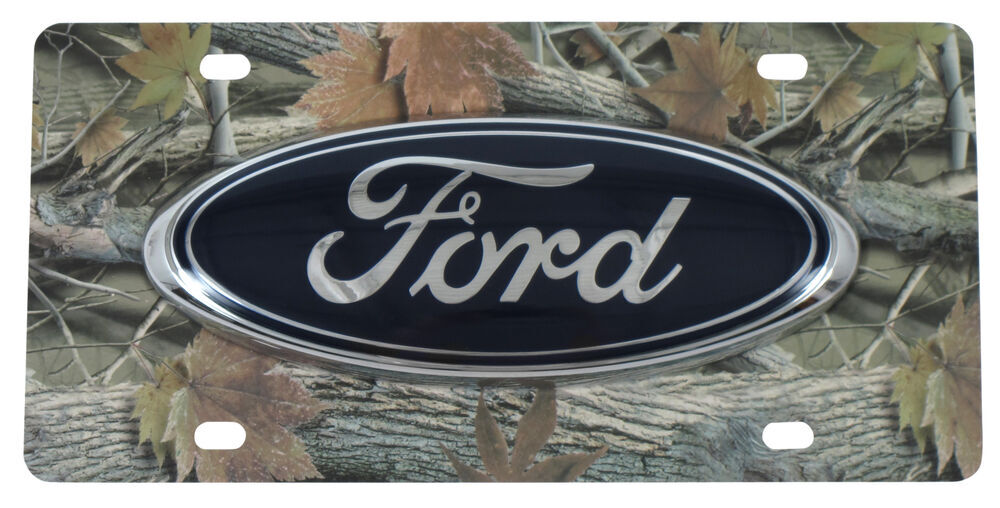 Ford License Plate Large Blue Oval Logo Stainless Steel With