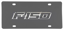 Ford F-150 License Plate - Black and Chrome Logo - Stainless Steel w/ Black Finish