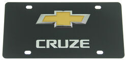 Chevrolet Cruze License Plate - Gold Logo and Chrome Lettering - Stainless Steel w/ Black Finish