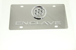 Buick Enclave License Plate - Chrome Logo and Lettering - Stainless Steel w/ Chrome Finish