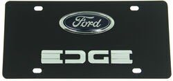 Ford Edge License Plate - Blue/Chrome Logo and Chrome Lettering - Stainless Steel w/ Black Finish
