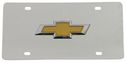 Chevy Bowtie License Plate - Gold Logo - Stainless Steel w/ Chrome Finish